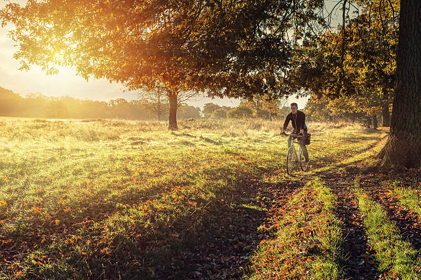 young man cycling in the morning - richmond park stock photos and pictures