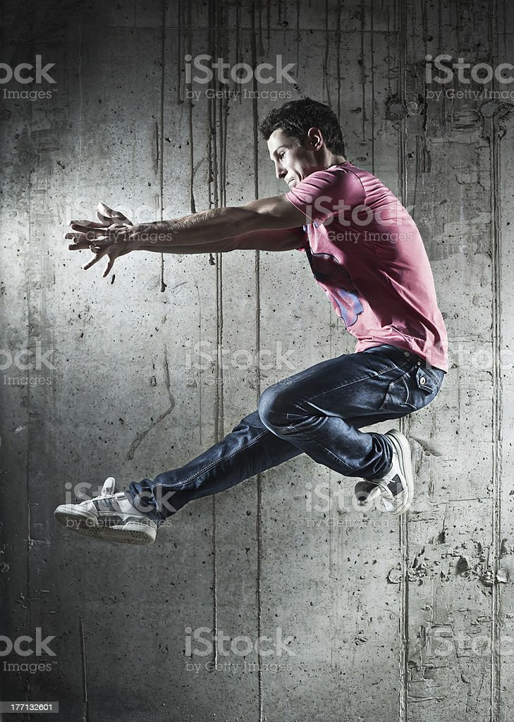 Young man dancer jumping royalty-free stock photo