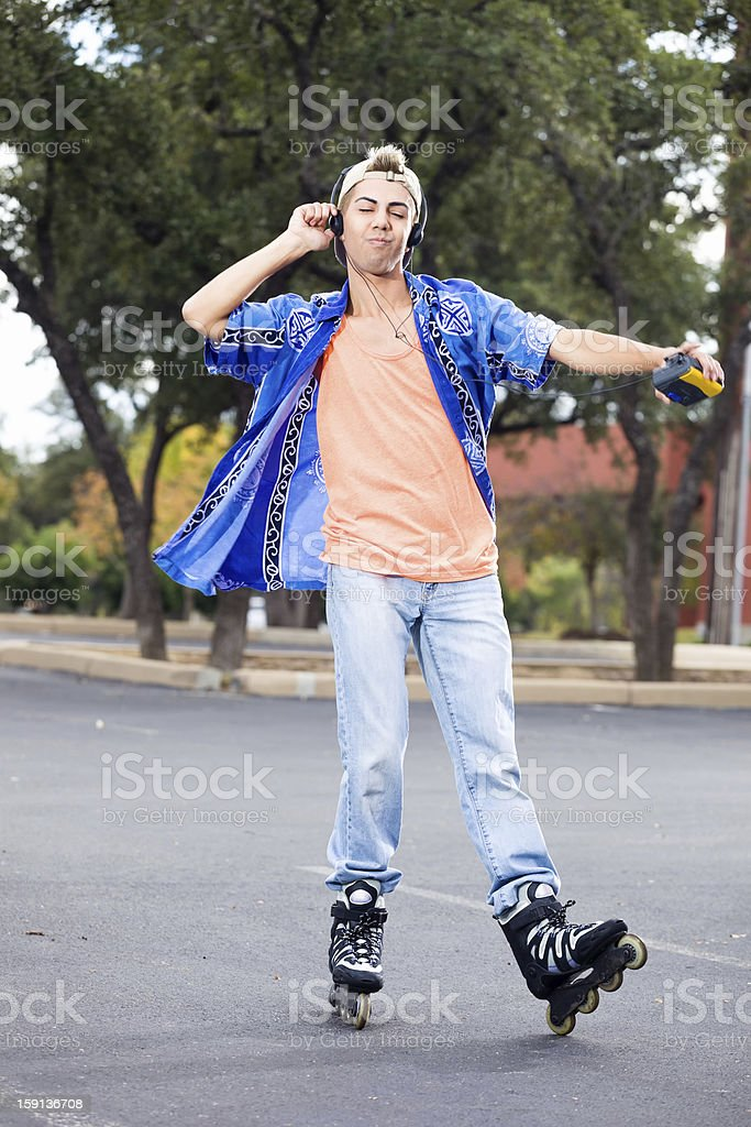 Young Man dancing on Skates stock photo