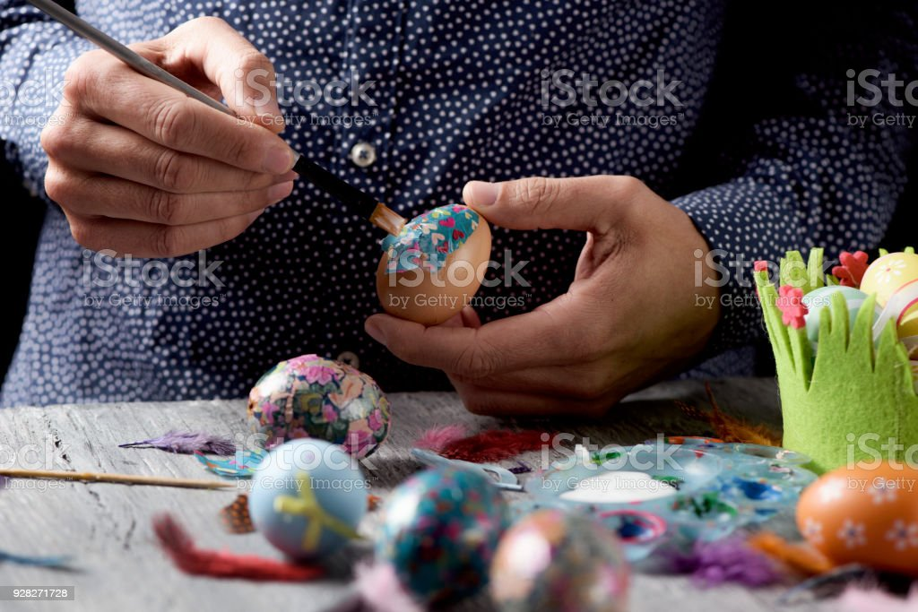 Young Man Decorating Homemade Easter Eggs Stock Photo More