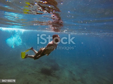 831127716 istock photo Young man diving underwater 942193276