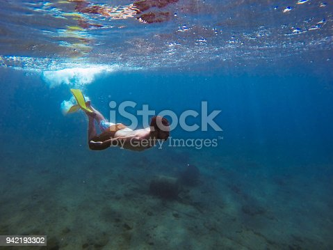 831127716 istock photo Young man diving underwater 942193302