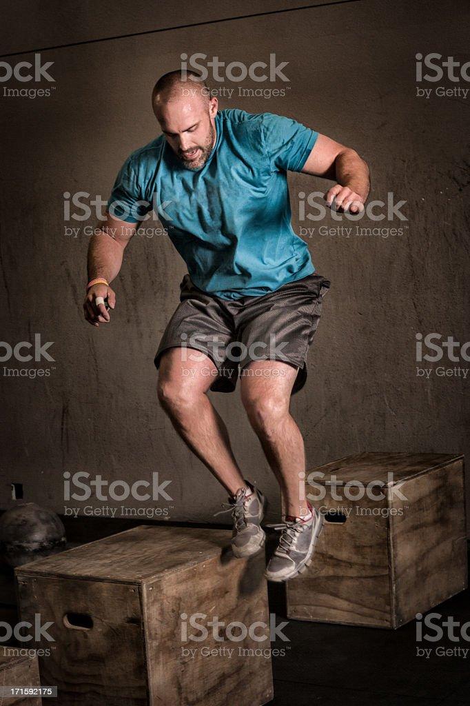Young Man Doing Box Jump royalty-free stock photo