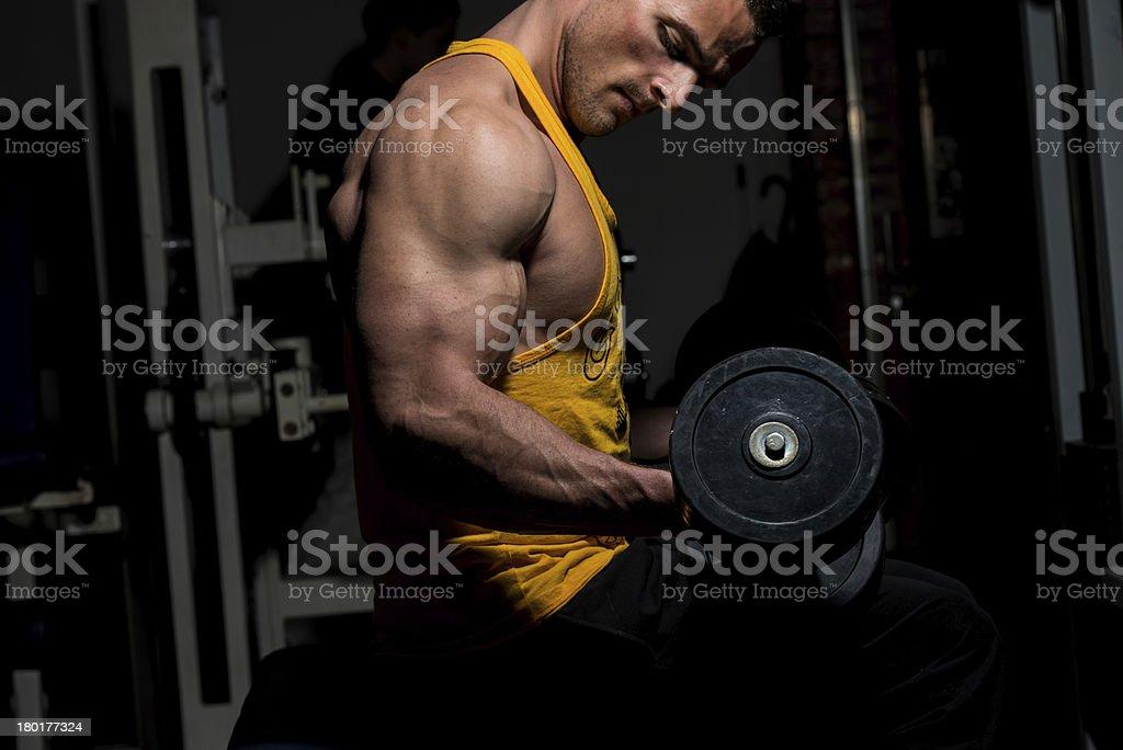 Hombre joven haciendo ejercicio para biceps peso pesado - Foto de stock de Actividad libre de derechos