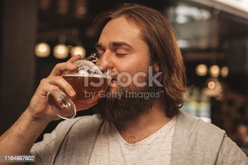 istock Young man drinking beer at the bar 1164667602