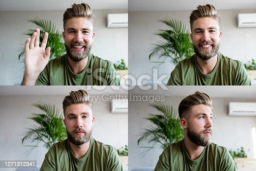 Four faces of young man having video conference, using laptop. Composite images.