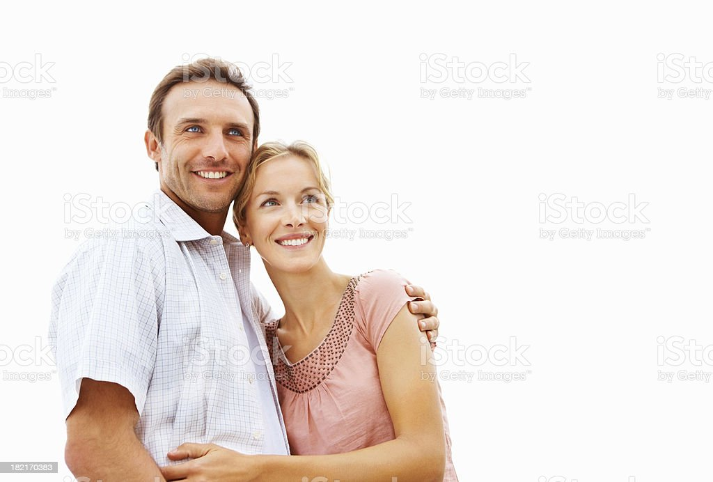 Young man embracing his wife royalty-free stock photo