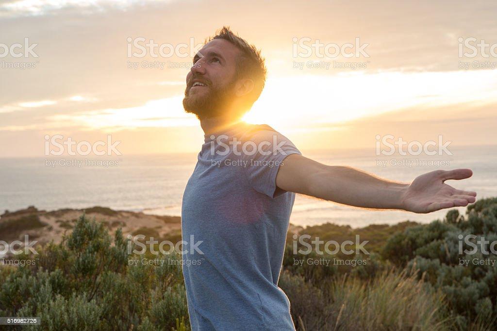 Young man enjoying life stock photo