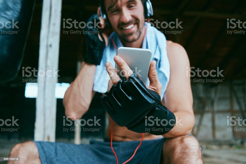 relaxing with music while training
