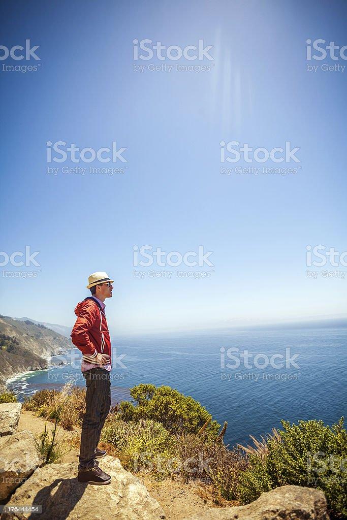 Young man enjoying the view of coastal California royalty-free stock photo