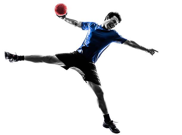 young man exercising handball player silhouette - handboll bildbanksfoton och bilder