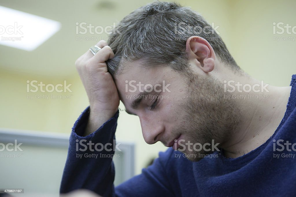Young man Exhausted stock photo