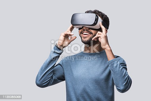 Handsome men with glasses of virtual reality. Future gadgets technology concept. Modern imaging