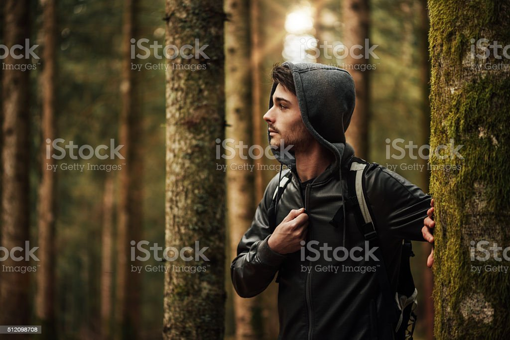 Young man exploring a forest stock photo