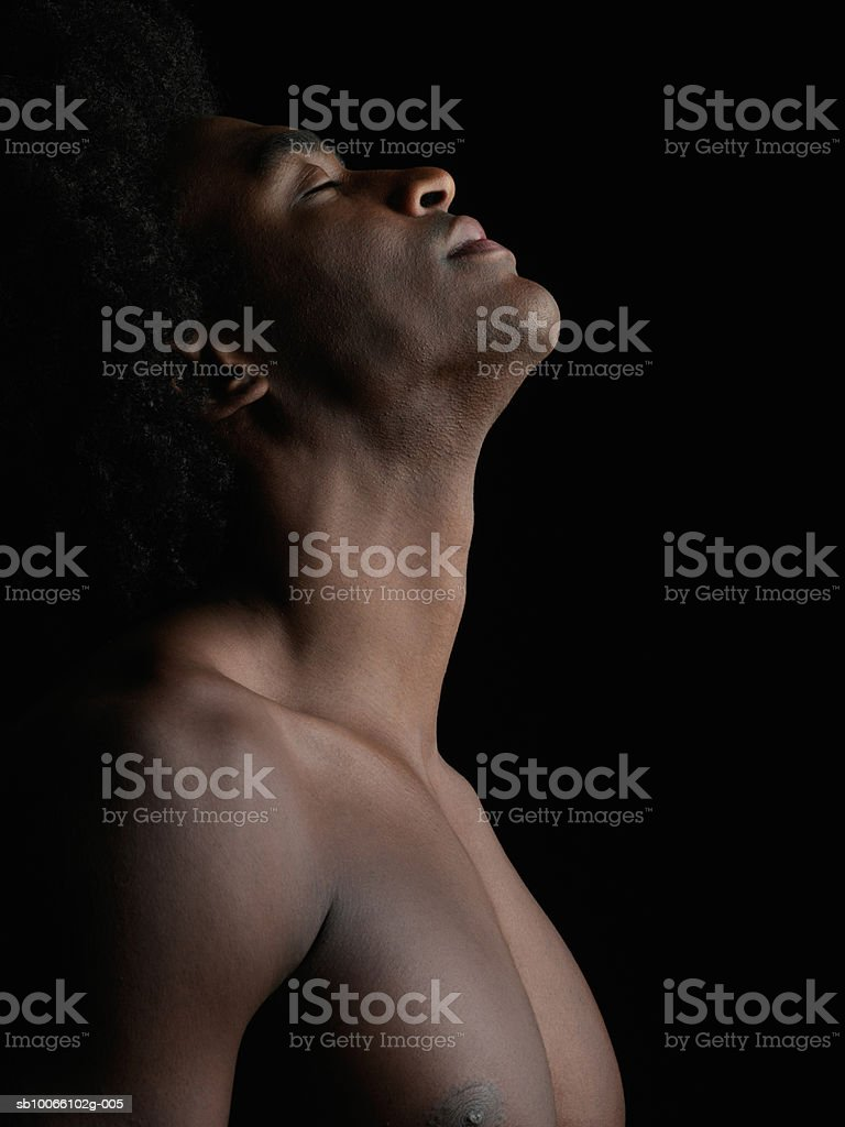 Young man eyes closed, close-up royalty-free stock photo