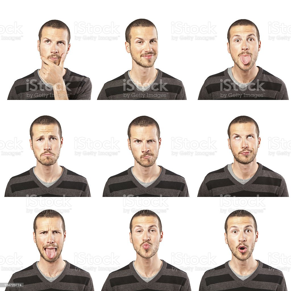 young man face expressions composite stock photo