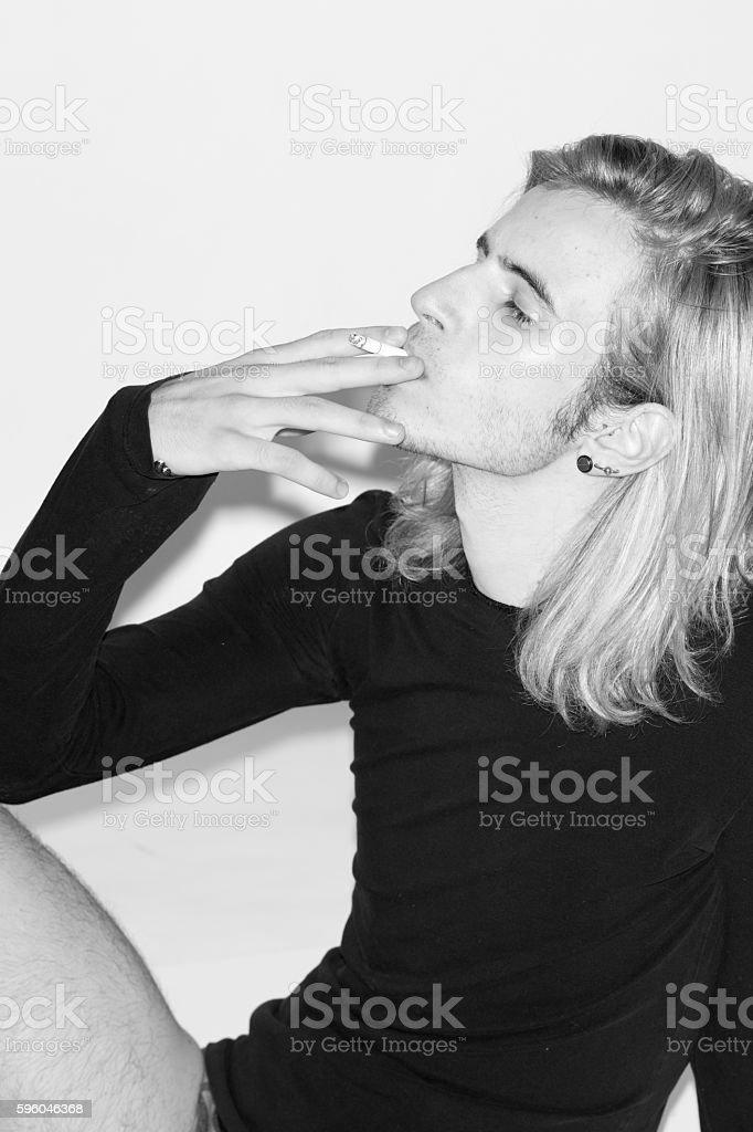 young man fashion model polaroids snapshots black and white royalty-free stock photo
