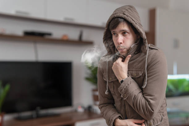 Young man feel cold at home. stock photo