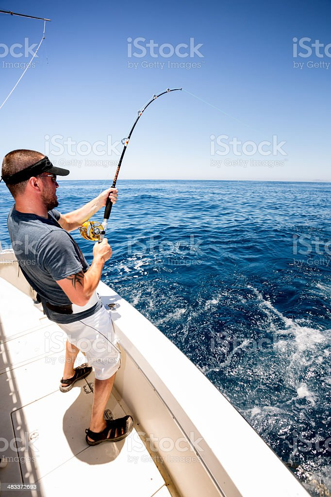 Young Man Fishing stock photo