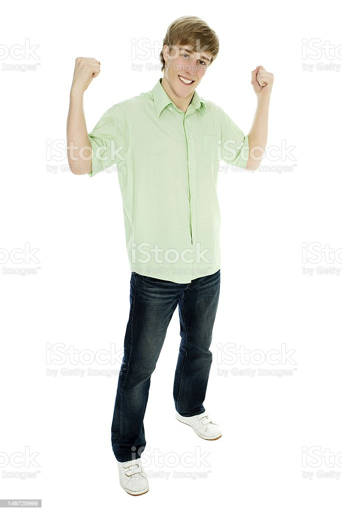 Young man flexing muscles royalty-free stock photo