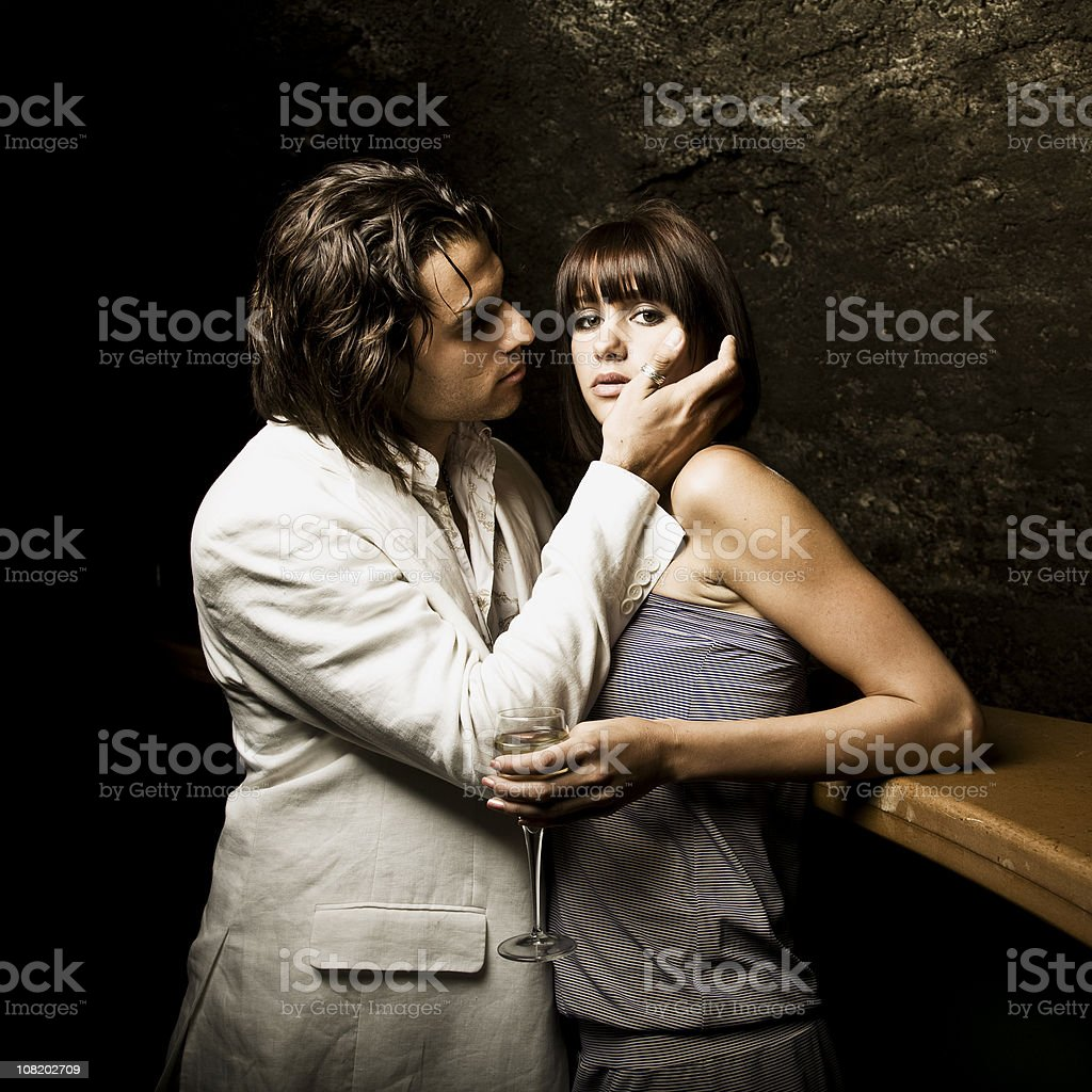 Young Man Flirting with Woman Nightclub royalty-free stock photo
