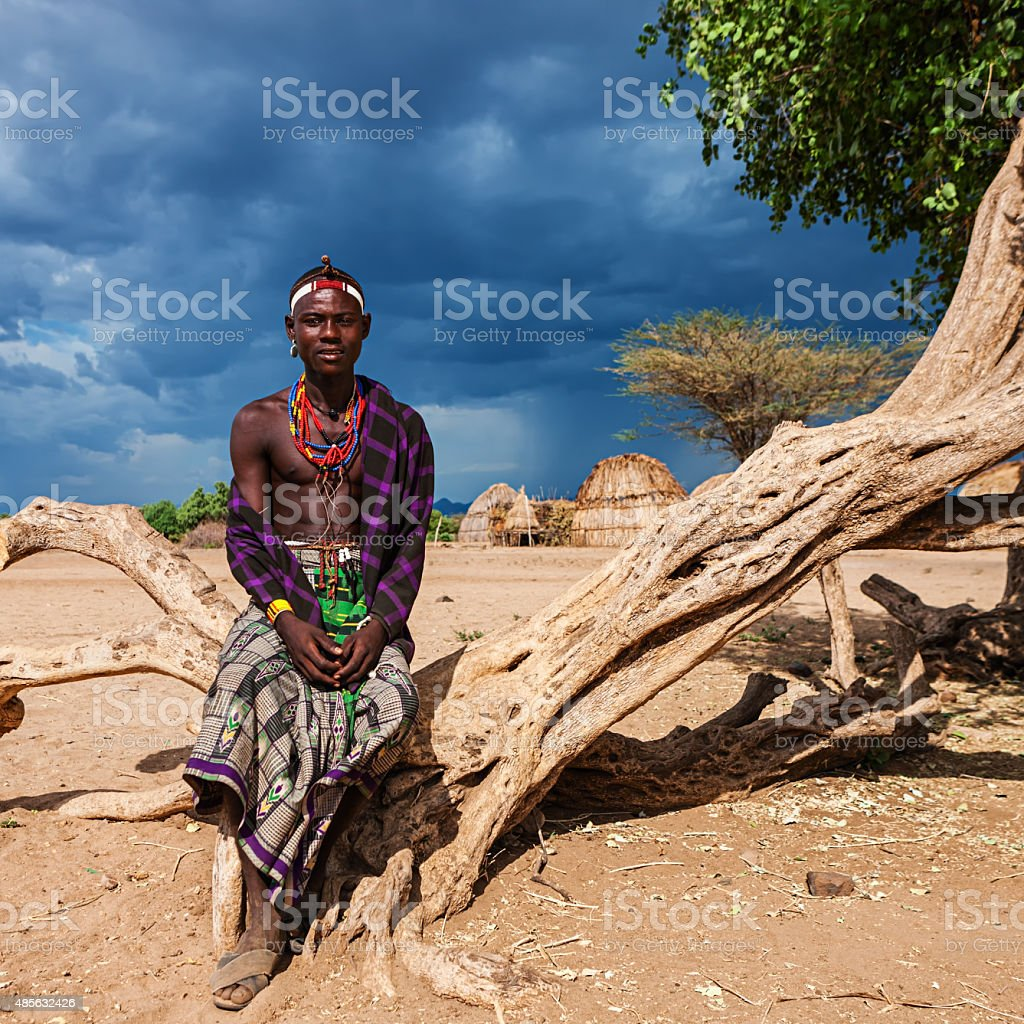 Young man from Erbore tribe, Ethiopia, Africa stock photo