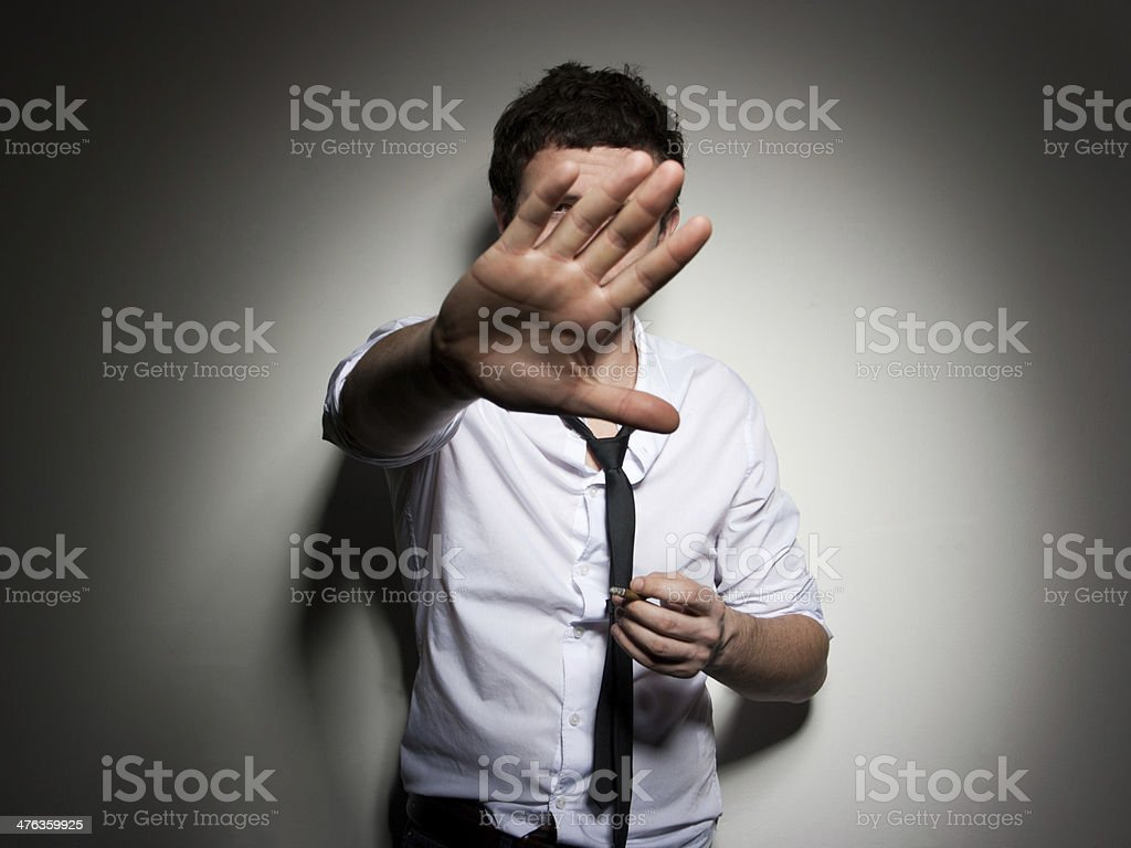 Young man gesticulate stop royalty-free stock photo