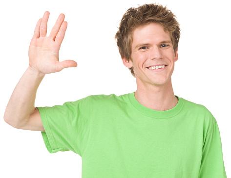 Young Man Gestures Vulcan Salute