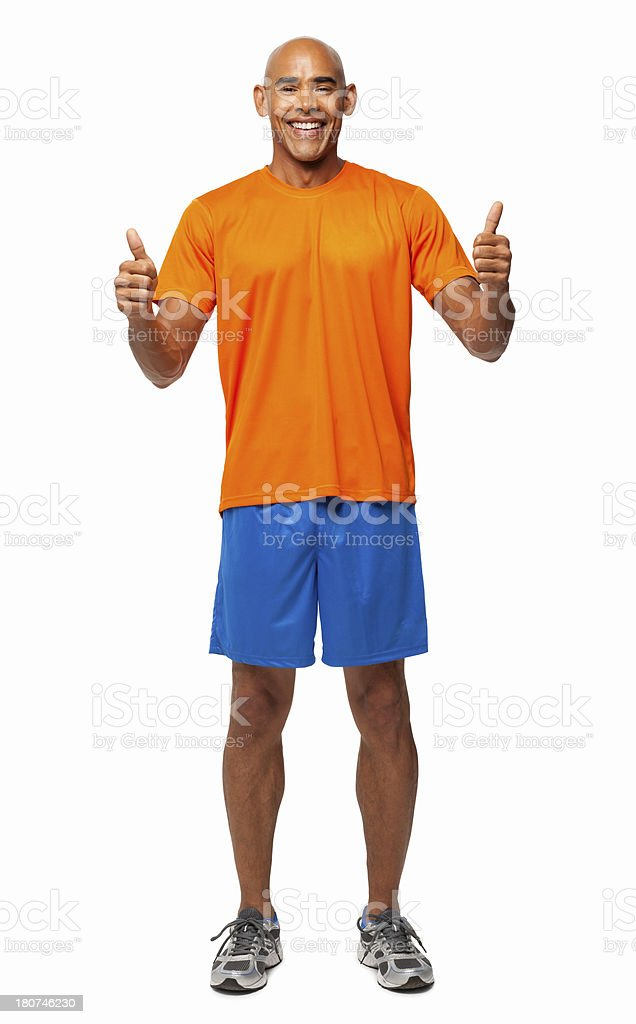 Young Man Gesturing Thumbs Up - Isolated royalty-free stock photo