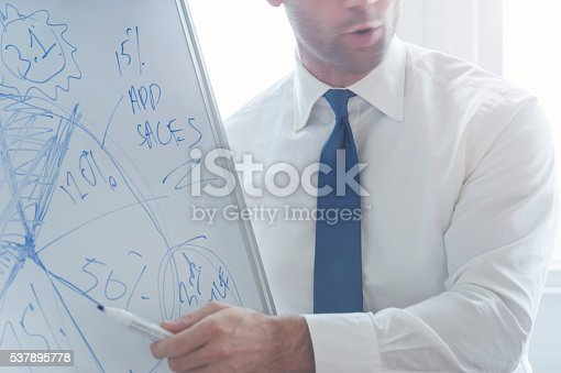 497451790 istock photo Young man giving a boardroom presentation. 537895778