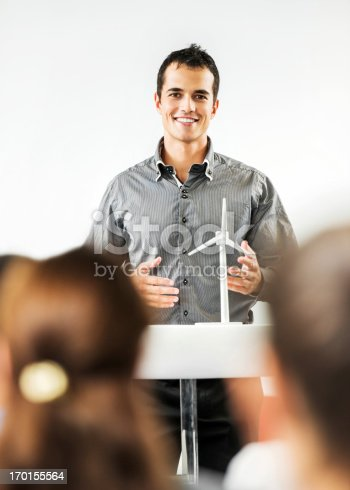 508658652istockphoto Young man giving a public speech regarding solar energy. 170155564