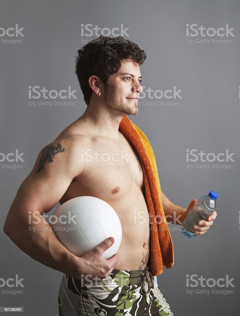 young man going on the beach royalty-free stock photo