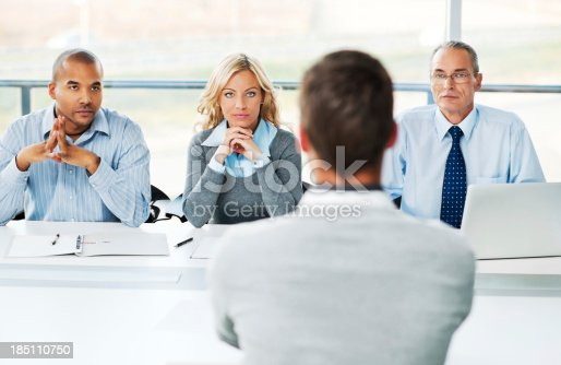 istock Young man have job interview. 185110750