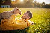 Dog, Owner, Men, Playful, Playing