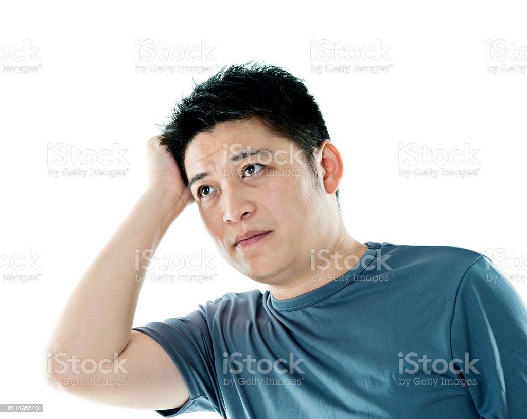 Giovane uomo mal di testa su sfondo bianco foto stock royalty-free