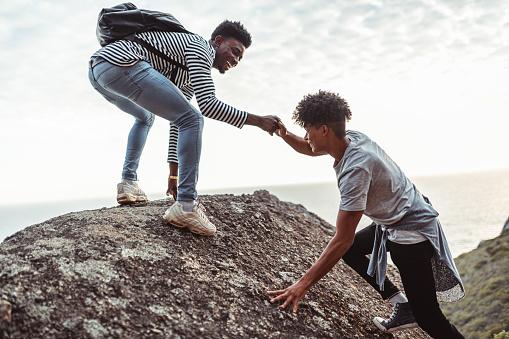 Two young men enjoying the hiking