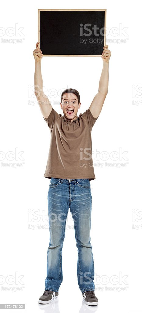 Young Man holding blackboard royalty-free stock photo