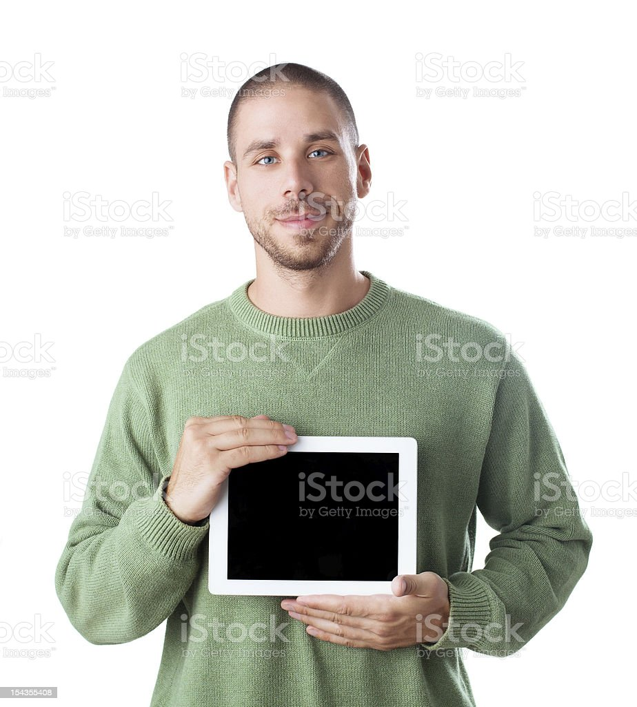 Young man holding Digital Tablet, isolated on white royalty-free stock photo