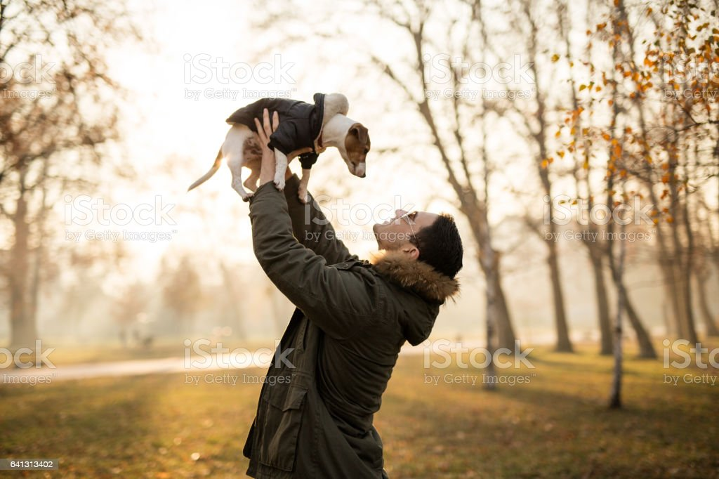 Young man holding his Jack Russell puppy towards the Sun stock photo
