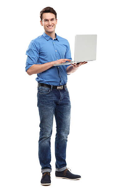 Young man holding laptop Young man holding laptop laptop white background stock pictures, royalty-free photos & images