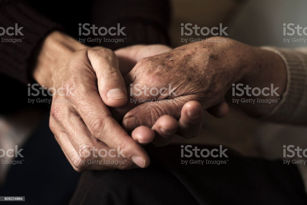 young man holding the hand of an old woman stock photo