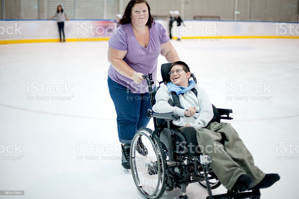 Young Man Ice Skating stock photo