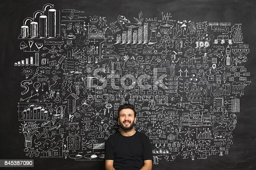 istock Young man Idea Concept on blackboard 845387090