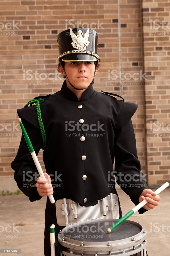 Young man in band uniform stock photo