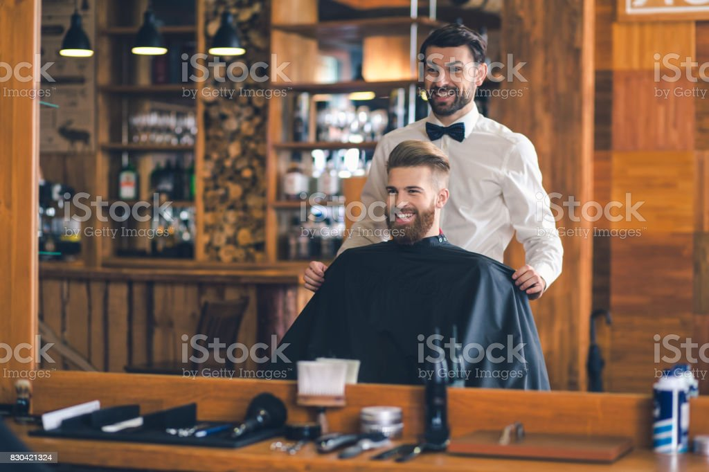 Young Man in Barbershop Hair Care Service Concept - fotografia de stock