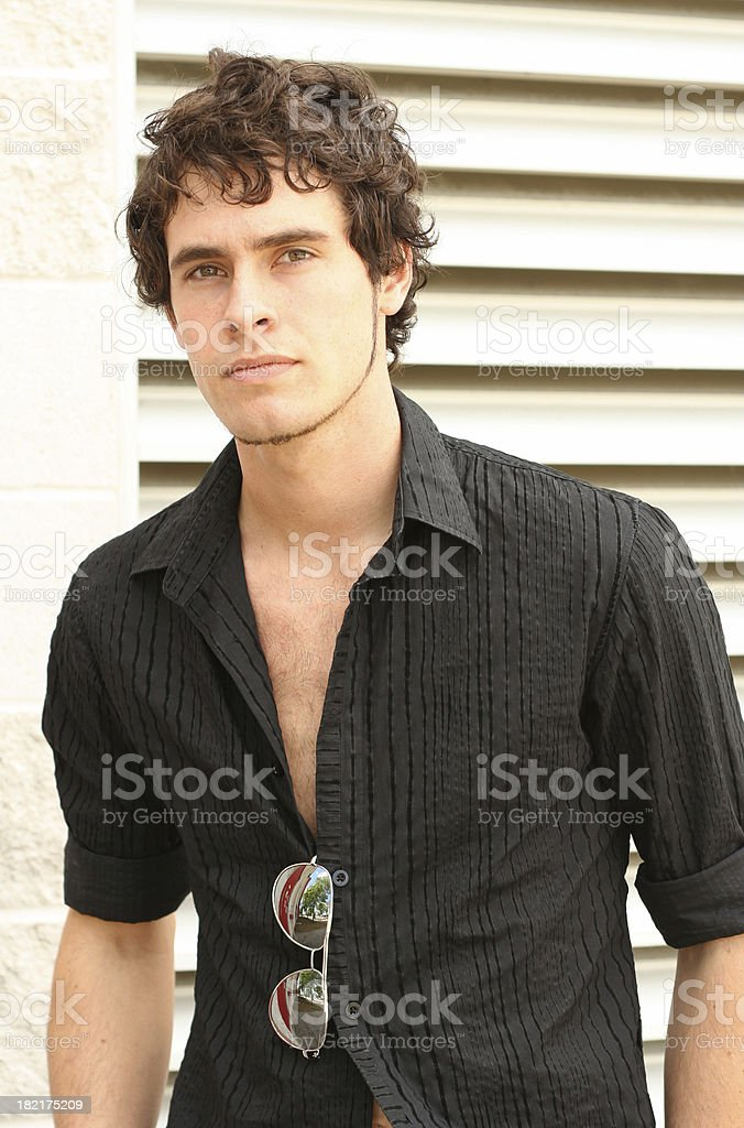 Young Man in black Shirt royalty-free stock photo