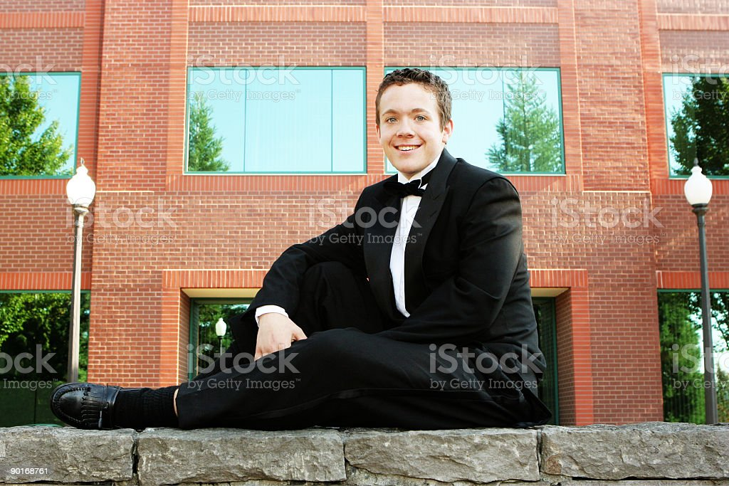 Young Man in Black Tux royalty-free stock photo