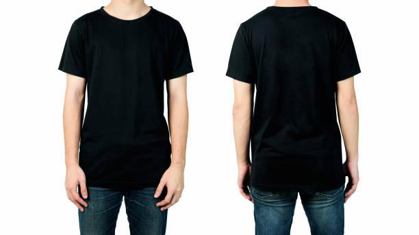 homem novo no t-shirt preto em branco isolado no fundo branco, vistas dianteiras e traseiras do mock acima para a cópia do projeto. - camiseta preta - fotografias e filmes do acervo