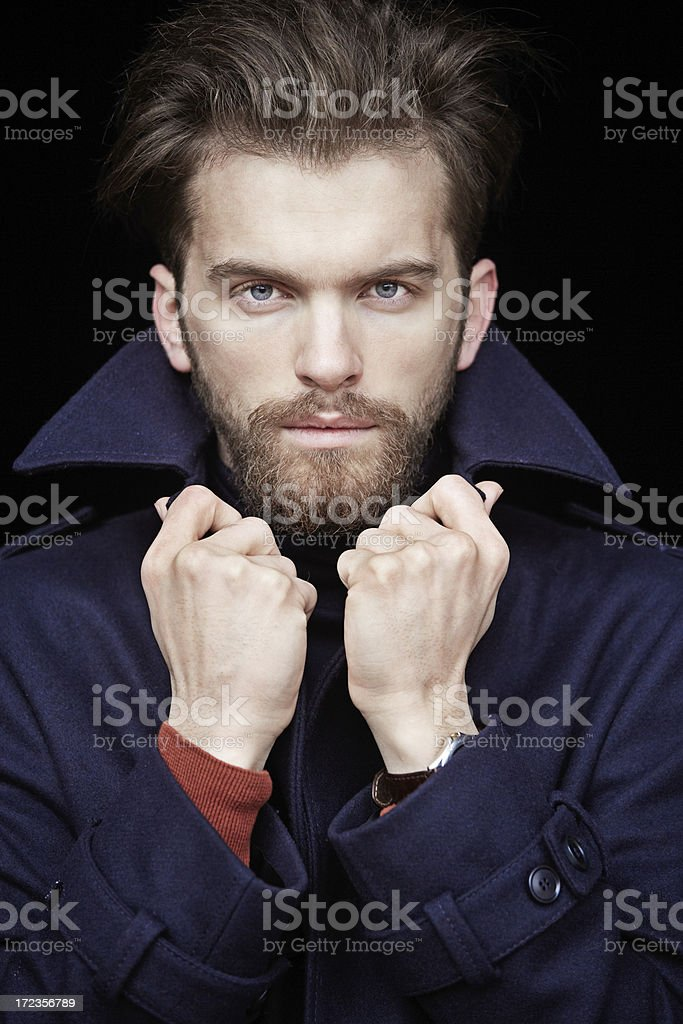 Young Man in Blue Coat royalty-free stock photo