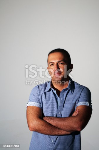 906807208istockphoto Young man in blue shirt with arms crossed, Turkey, Istanbul 184396783